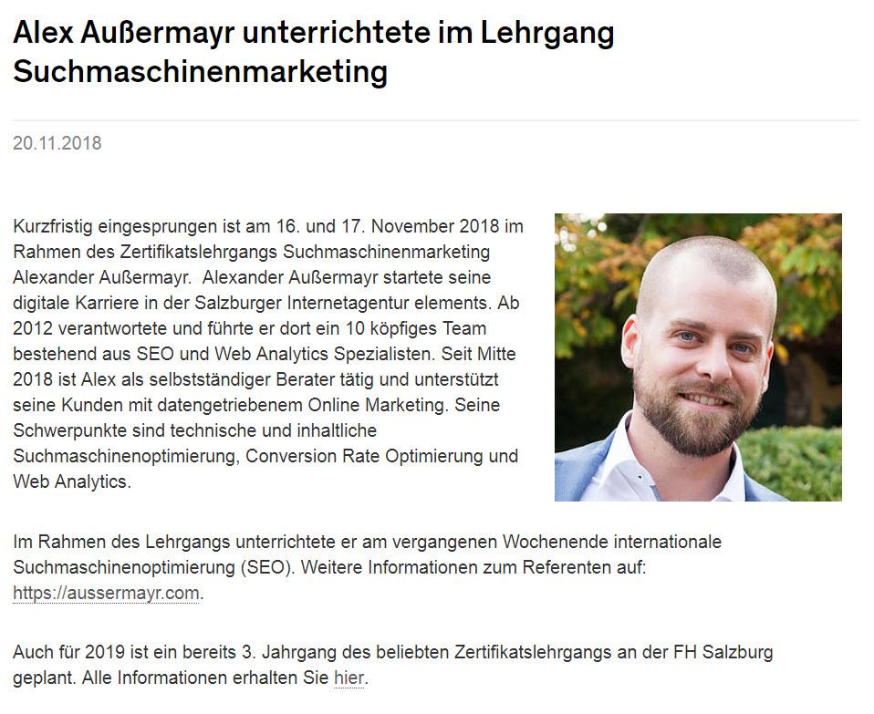 News-Artikel der FH Salzburg zum Thema: Alex Außermayr unterrichtete im Lehrgang Suchmaschinenmarketing