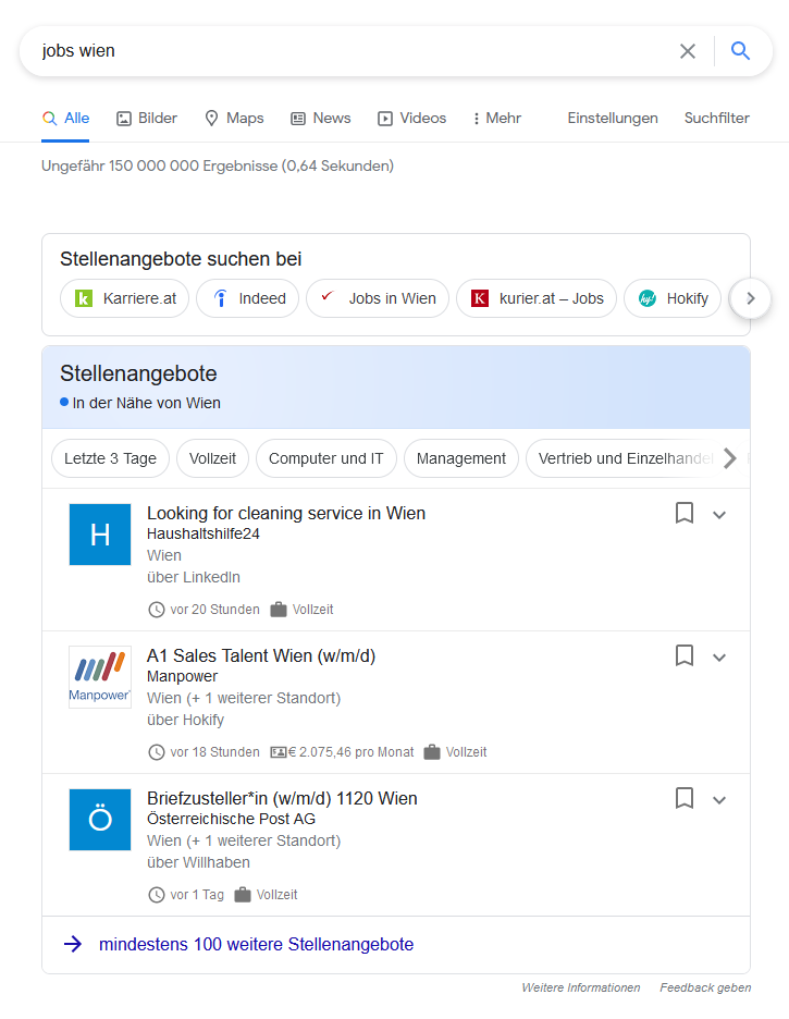 """Darstellung des """"Google for Jobs"""" in Google Österreich für die Suchanfrage [jobs wien]"""